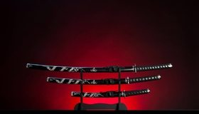 Картинка: Катана, меч, рукоятка, штатив, холодное оружие