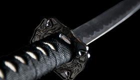 Картинка: Меч, катана, рукоять, гравировка, дракон, лезвие