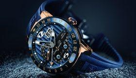 Картинка: Часы, стрелки, лежат, время, стиль, Ulysse Nardin, синий