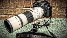 Картинка: Фотоаппарат, линза, объектив, штатив, Canon, фон, кирпичи