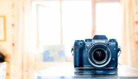 Картинка: Фотоаппарат, Fujifilm, камера, объектив, стол