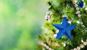Картинка: Синяя звёздочка, иголки, ель, бусы, шары, украшение