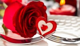 Картинка: Роза, цветок, сердечко, вилки, декор, день влюбленных