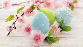 Картинка: Пасха, яйца, цветные, крашеные, ветки, цветы, розовый, голубой, зелёный