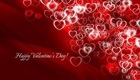 Картинка: День Святого Валентина, любовь, красный фон, день влюблённых, сердечки, контур