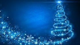 Картинка: Ёлочка, Новый год, синий фон, снежинки, звёздочки, мерцание, блики