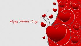 Картинка: День Святого Валентина, 14 февраля, день влюблённых, любовь, сердечки, красный, завитки, белый, фон