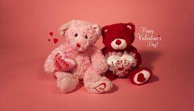 Картинка: Плюшевые мишки, игрушки, два, сердечки, любовь, День Святого Валентина