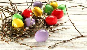 Картинка: Пасха, Вербное воскресенье, яйца, верба, ветка, крашеные, цветные, пасхальные