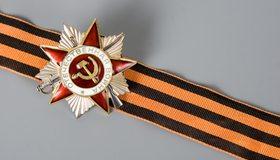 Картинка: Значок, звезда, Георгиевская ленточка, Великая Отечественная война, победа, 9 Мая