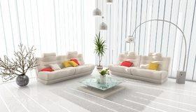 Картинка: Светлый, дизайн, белый, столик, шторы, жалюзи, лампы, диваны