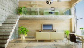 Картинка: Лестница, растения, диван, стулья, полки, телевизор, колонки, окно
