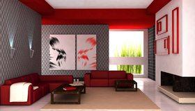 Картинка: Диван, столик, картины, светильники, красный, модули, окно, растения