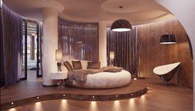 Картинка: Спальня, кровать, круглая, подушки, светильник, торшер, шторы, колонны