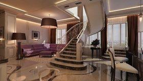 Картинка: Квартира, дизайн, лестница, стул, диван, торшер, люстра, картина, окно
