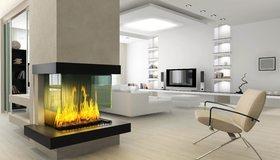 Картинка: Камин, огонь, пламя, кресло, светло, комната, телевизор