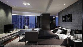 Картинка: Спальня, кровать, окно, торшер, телевизор, ковёр, дизайн, стиль, хай-тек