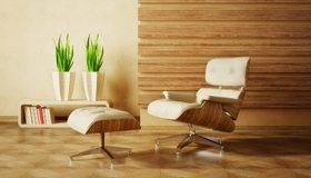 Картинка: Кресло, деревянный, отделка, растения, цветы, книги