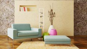 Картинка: Кресло, светильники, вазы, декор, ковёр, стены, книги