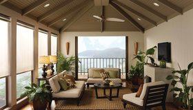 Картинка: Веранда, диван, подушки, стол, торшер, камин, цветы, балкон, горы, море