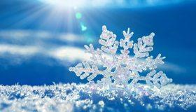 Картинка: Снежинка, снег, лучи, зима, синий фон