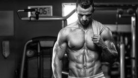 Картинка: Мужчина, качок, торс, мышцы, тело, спортсмен, тренажёры
