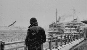 Картинка: Парень, мужчина, море, снег, зима, чайка, теплоход, паром, порт, чёрно-белое, грусть