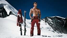 Картинка: Мужчина, парень, очки, костюм, лыжи, горы, снег, зима, спорт