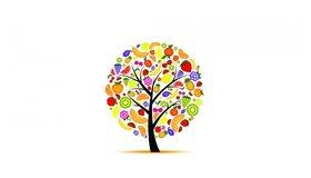 Картинка: Дерево, фрукты, белый фон