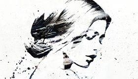 Картинка: Девушка, экскиз, рисунок, чёрное, белое, кляксы