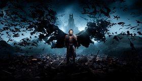 Картинка: Дракула, Люк Эванс, темнота, тьма, крылья, летучие мыши, замок, фильм, фэнтези
