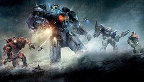 Картинка: Роботы, Егеря, кино, океан, ночь, свет, корабль, Тихоокеанский рубеж 2, Pacific rim 2