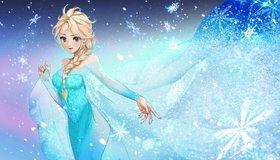 Картинка: Frozen, Холодное Сердце, Elza, платье, снежинки, блондинка