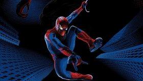 Картинка: Супергерой, человек-паук, костюм, здания, рука монстра, летит, выстрел