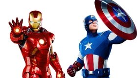 Картинка: Железный человек, Капитан Америка, герои, объединение, щит, звезда