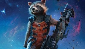 Картинка: Guardians of the Galaxy, Стражи галактики, Ракета, енот, оружие, космос