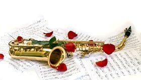 Картинка: Саксофон, инструмент, лепестки розы, ноты, белый фон