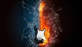 Картинка: Гитара, огонь, пламя, вода, молния, брызги, дым