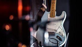 Картинка: Электрогитара, гитара, струны, музыка, блики
