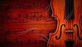 Картинка: Скрипка, ноты, струны, музыка