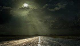 Картинка: Пейзаж, дорога, ночь, даль, лунный свет, луна, облака, горизонт, ночное небо