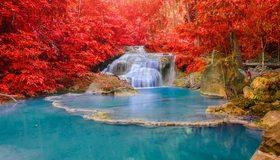 Картинка: Водопад, озеро, вода, деревья, красные, листва, осень, лес, камни