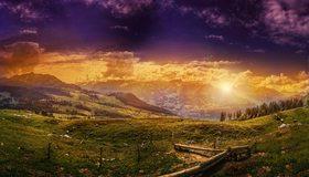 Картинка: Долина, горы, холмы, деревья, забор, вечер, закат, пейзаж, небо