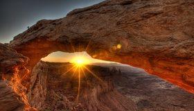 Картинка: Каньон, солнце, закат, лучи, парк, арка