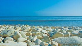 Картинка: Камни, море, вода, волна, горизонт, небо, пейзаж