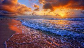 Картинка: Вода, море, океан, суша, песок, волны, пена, небо, облака, горизонт, пейзаж, закат