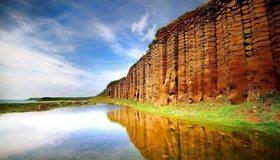 Картинка: Вода, прозрачная, чистая, отражение, стена, скала, плато, небо, пейзаж, ландшафт