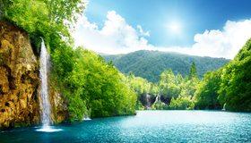 Картинка: Водопад, пейзаж, вода, небо, облака, деревья, горы