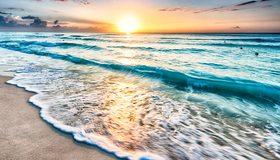 Картинка: Вода, море, океан, волны, пена, суша, песок, небо, закат, горизонт, пейзаж