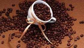 Картинка: Белая чашка, зёрна, кофе, лента, бантик, корзина